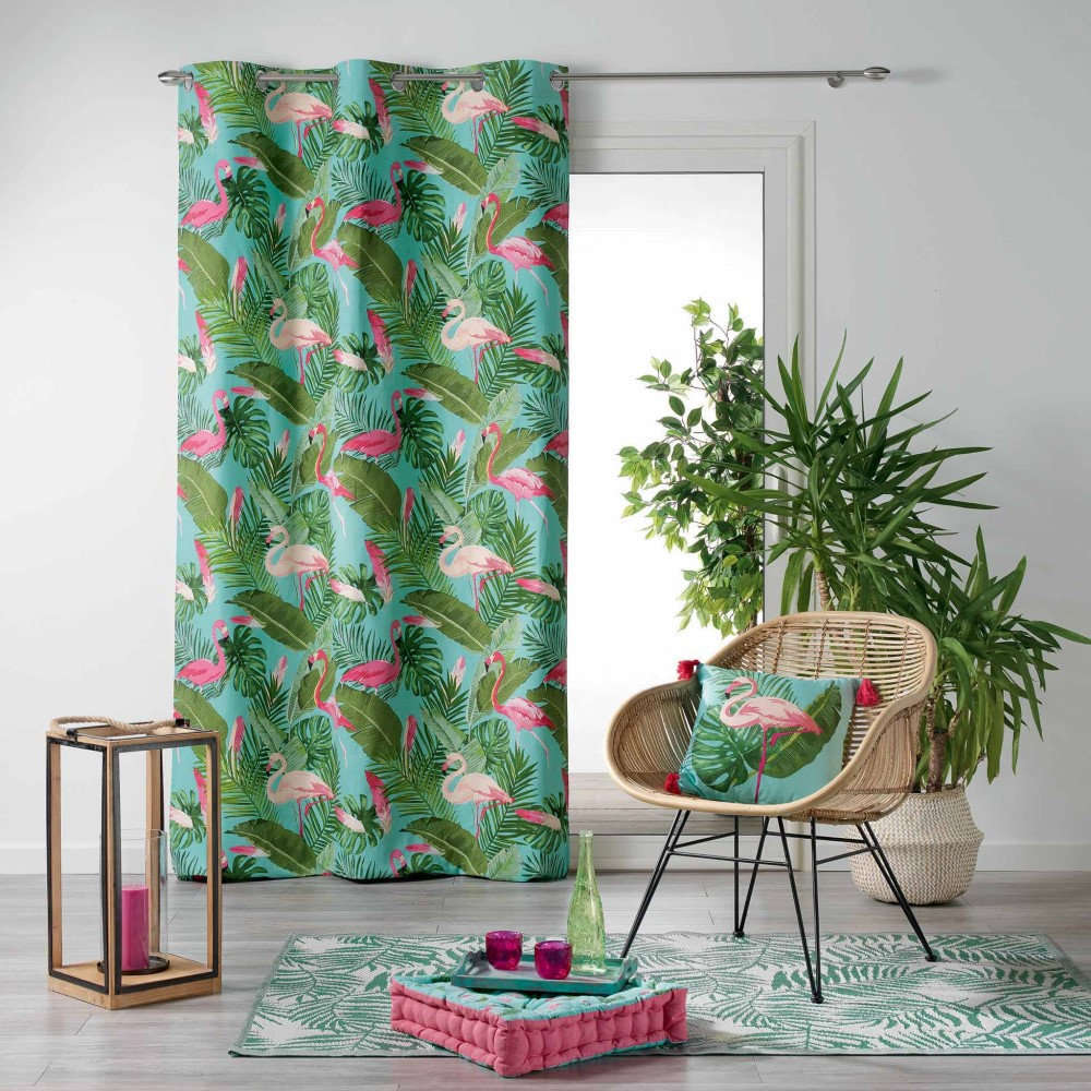 Zootica Flamingo Floral Home Furnishings Voile Curtain