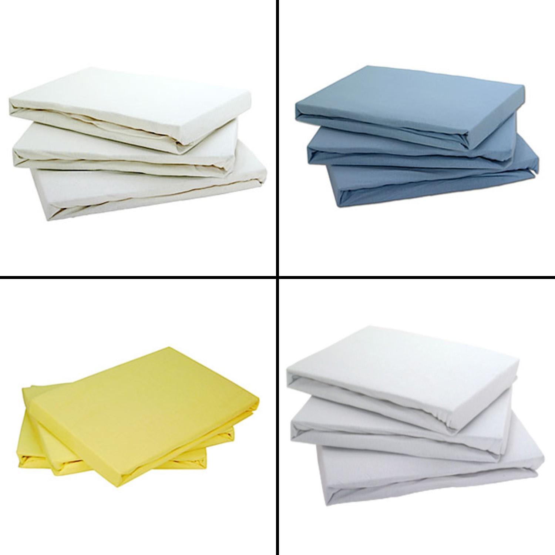 Lemon Yellow Pram//Crib Tonys Textiles Baby Jersey 100/% Cotton Pair of Fitted Sheets