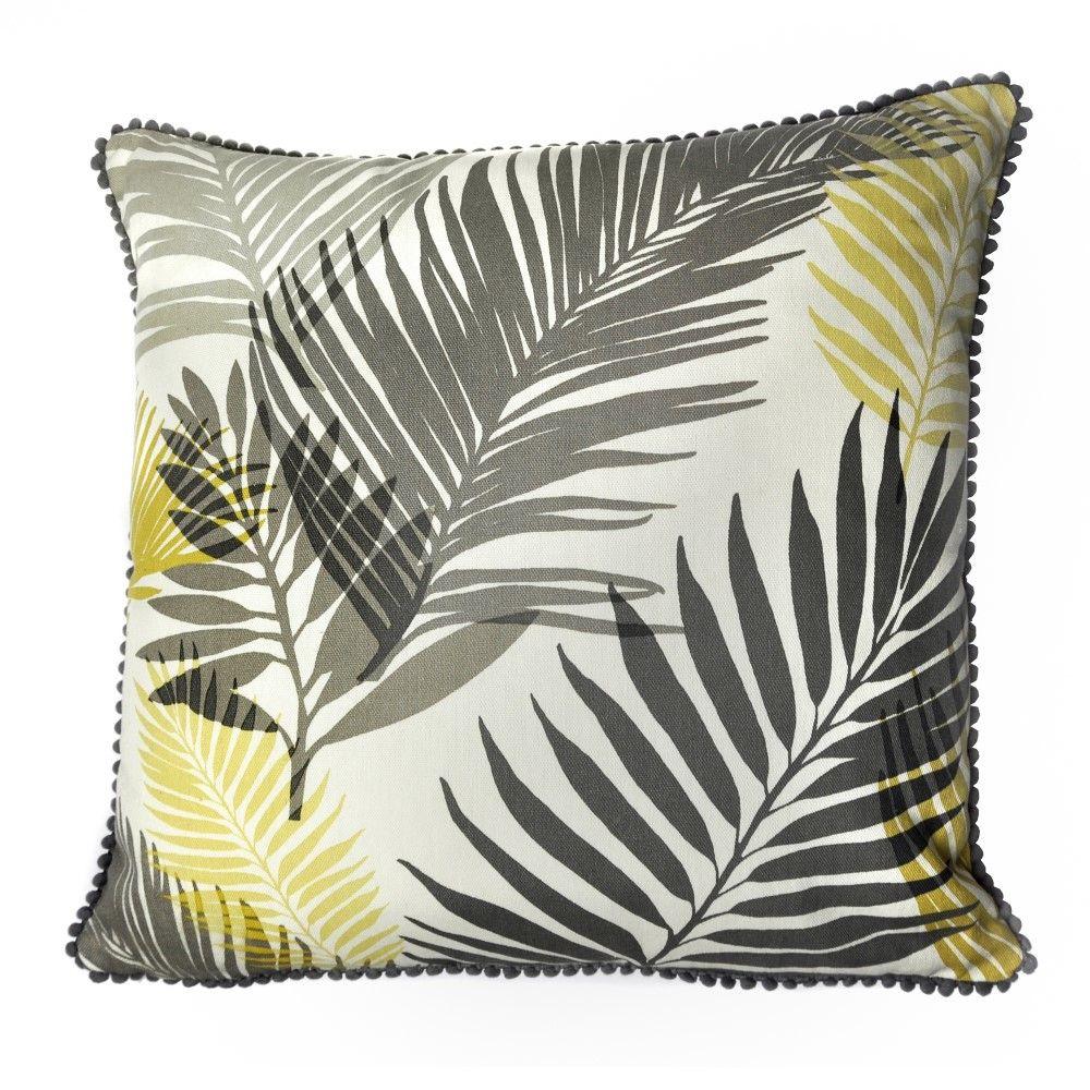 Tropical   Palm Leaf   Cushion Cover   Ochre Yellow   Tonys Textiles