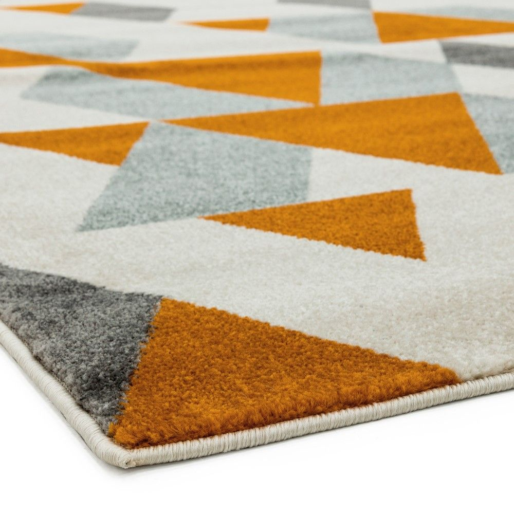 Colt Pyramid Geometric Rug Rust Orange Grey Tonys Textiles