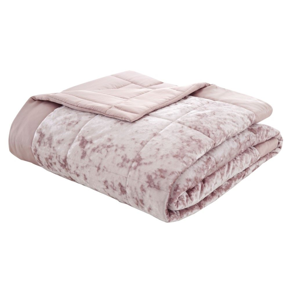 Catherine Lansfield Crushed Velvet Bedspread Blush Pink Tonys Textiles