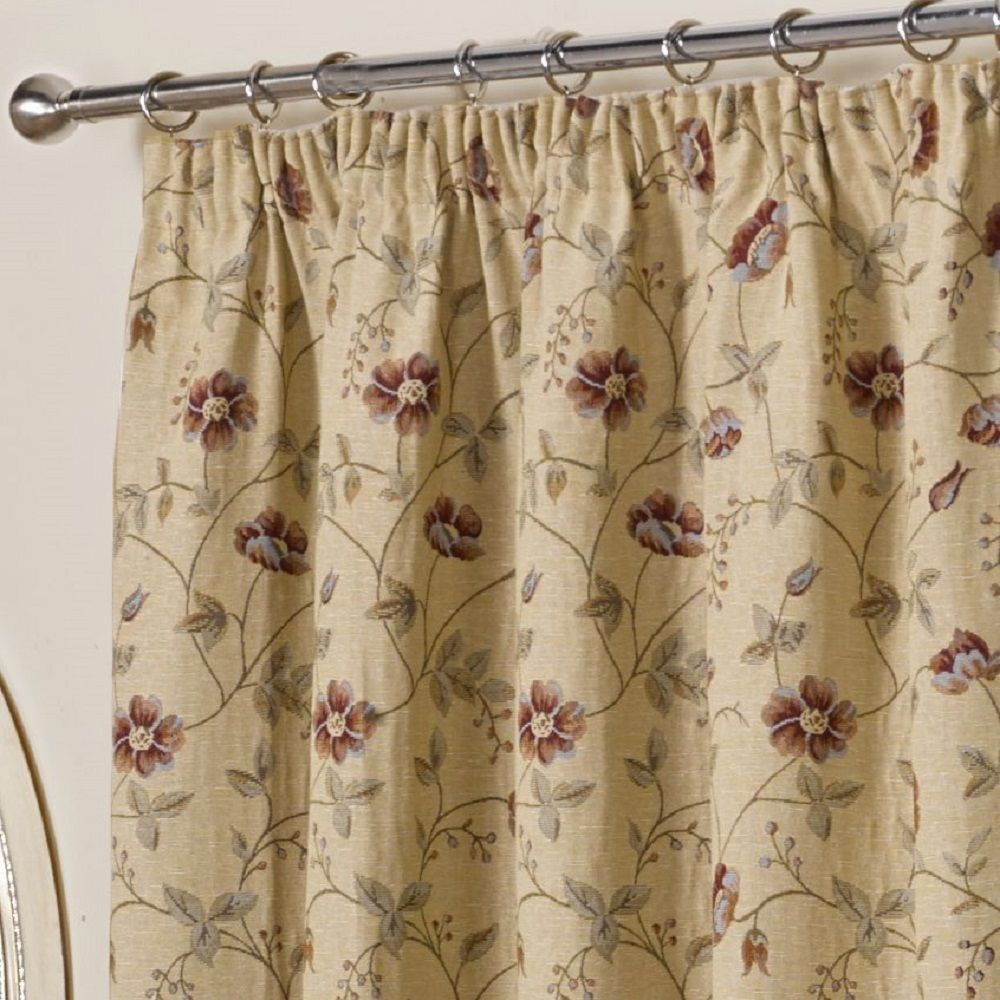 Banbury Floral Tapestry Fully Lined Tape Top Curtains Multi Tonys Textiles