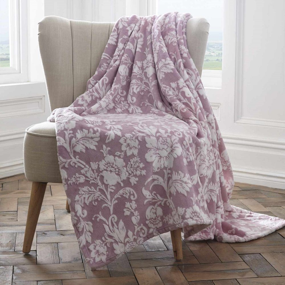 Pascal Floral Fleece Throw Lavender Tonys Textiles