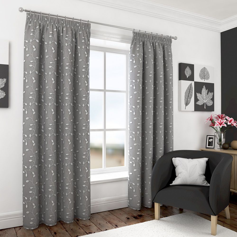 Sentinel Harrogate Embroidered Leaf Fully Lined Voile Curtains White Cream Grey