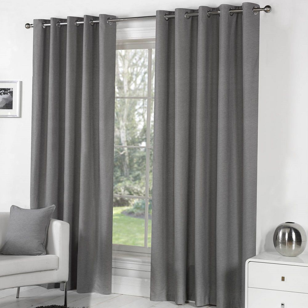 Sorbonne Plain Fully Lined Eyelet Ring Top Curtains Grey