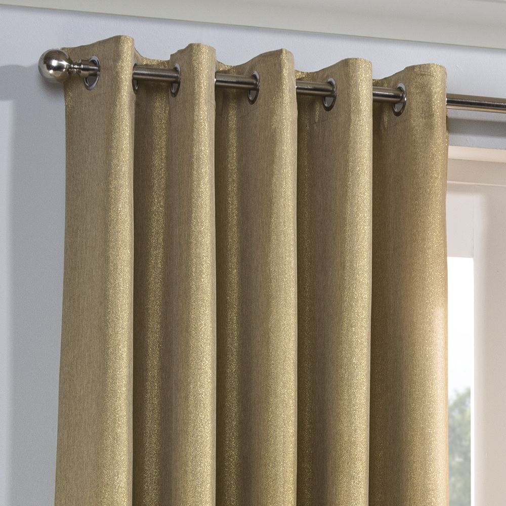 New Champagne Sequins Eyelet Ring Top Fully Lined Curtains All Sizes