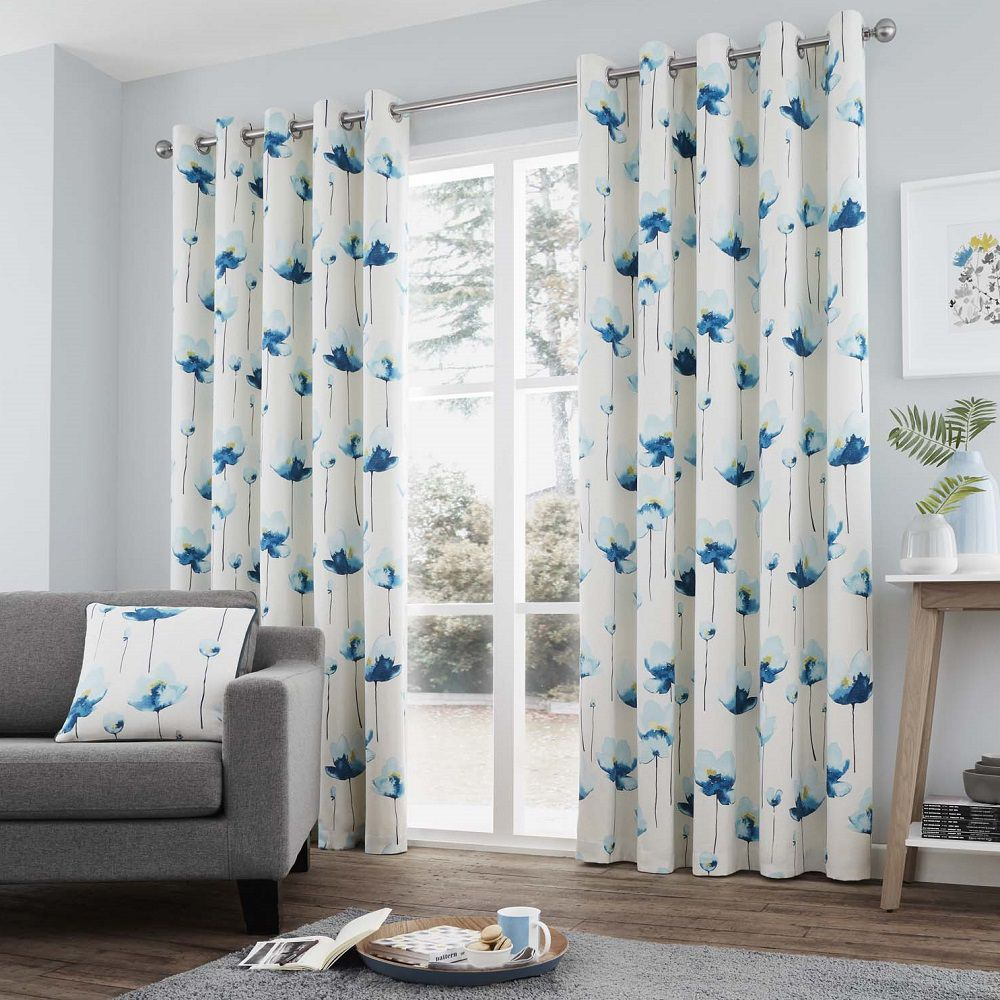 Kiera Fully Lined Eyelet Curtains With Floral Printed