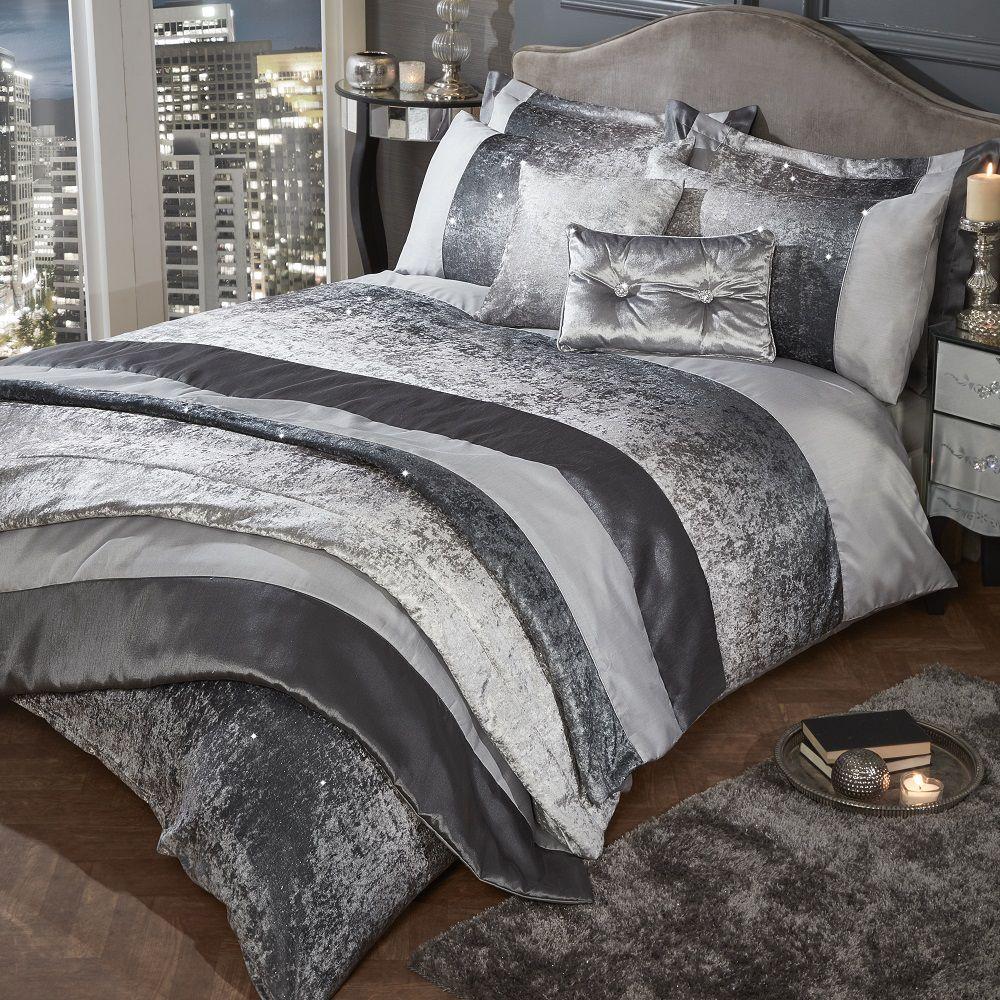 65d10059ba1d7 Sentinel Glitter Shimmer Crushed Velvet Duvet Quilt Cover Set Silver Grey  Mink Natural