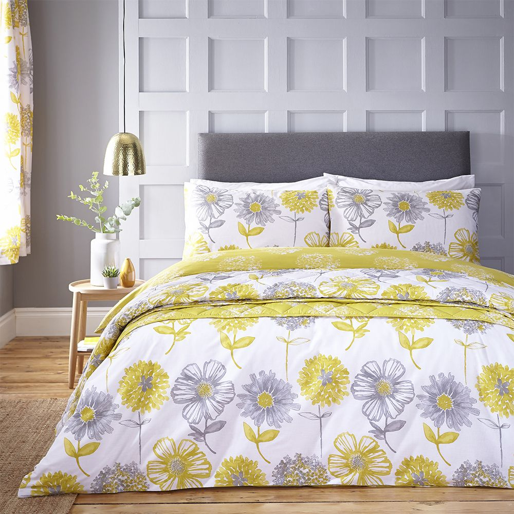 20 Gray And Yellow Nursery Designs With Refreshing Elegance: Catherine Lansfield Banbury Floral Bedding Duvet Set