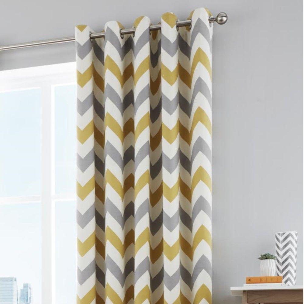 Chevron Fully Lined Eyelet Curtains Ochre Yellow Tonys Textiles