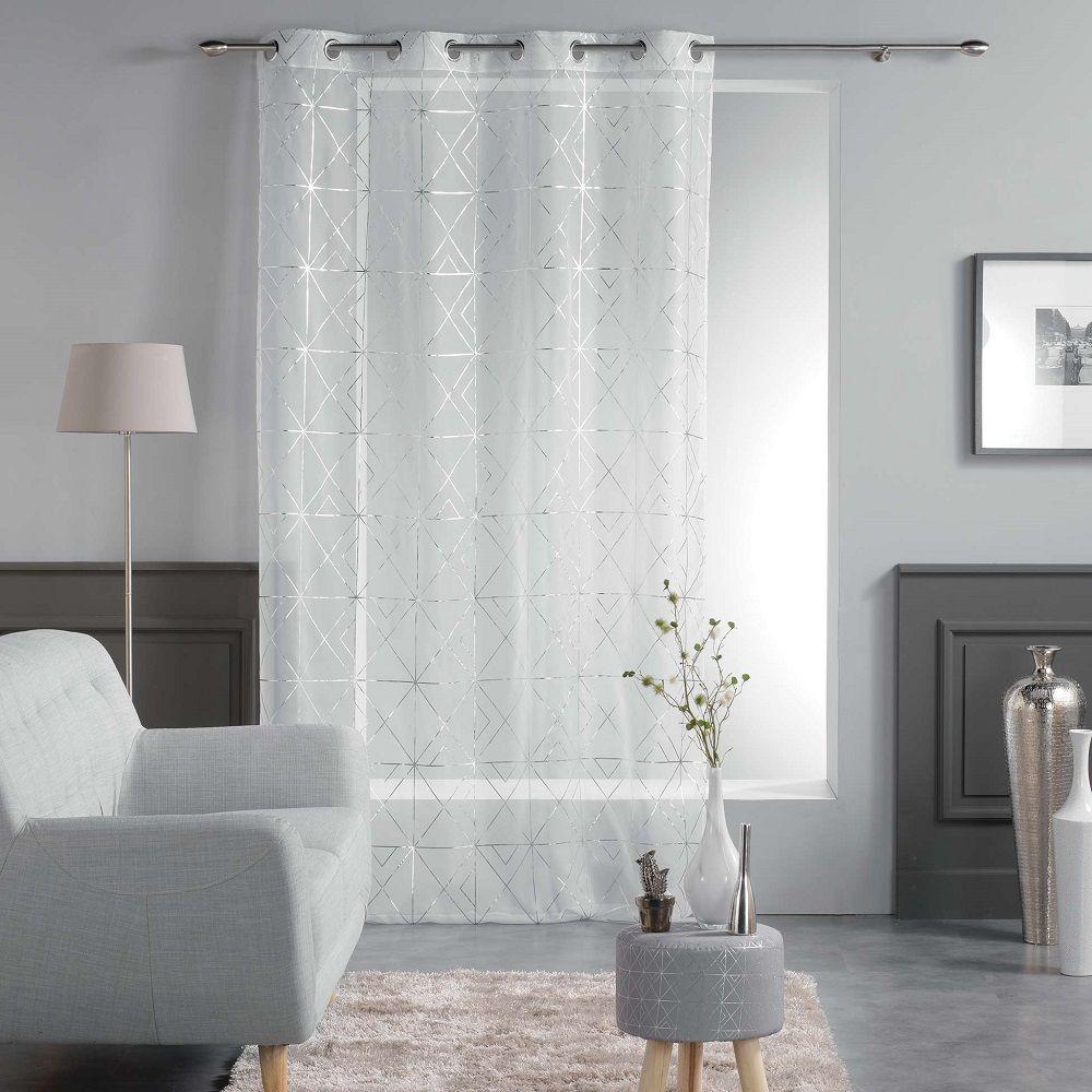 Luxury Quadris Voile Eyelet Curtain Panel with Metallic Geometric Print