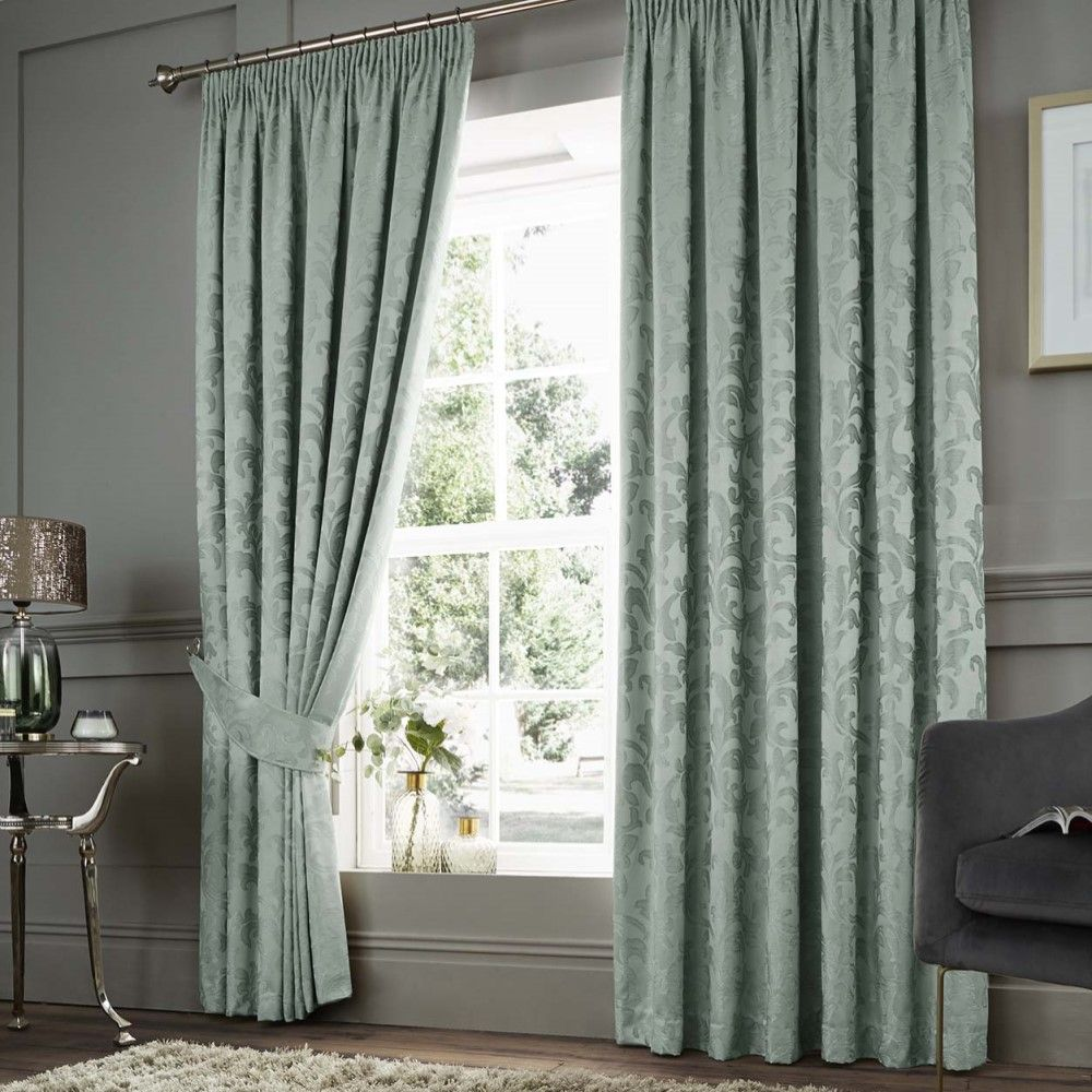 Cushion Covers Jacquard Tape Top Pencil Pleat Lined Pair Curtains Tie Backs