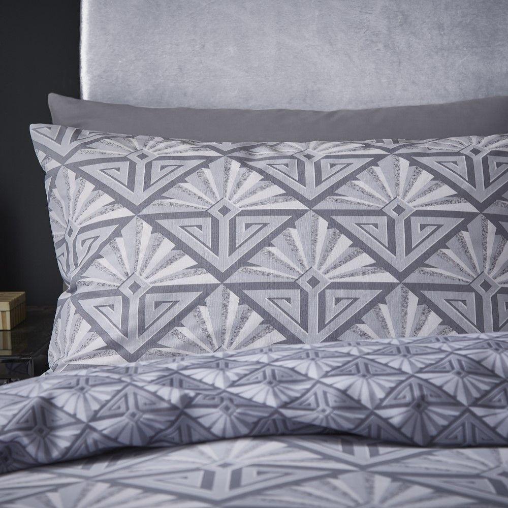Catherine Lansfield Art Deco Duvet Cover Set Silver Grey Tonys Textiles