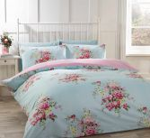 Katie Floral Blue Thermal Flannelette Duvet Cover Set