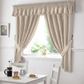 Gingham Check Kitchen Tape Top Curtains - Beige