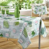 Bahia PVC Tablecloth with Printed Tropical Leaf - Green
