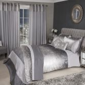 Sparkle Crushed Velvet Duvet Cover Set - Silver Grey