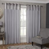 Sparkle Crushed Velvet Header Fully Lined Ring Top Curtains - Silver Grey