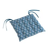 Trikala Geometric Quilted Seat Pad - Blue