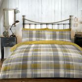 Connolly Check 100% Brushed Cotton Duvet Cover Set - Ochre Yellow