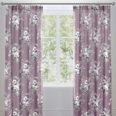 Mirabella Floral Lined Tape Top Curtains - Lavender Purple
