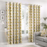 Aura Floral Fully Lined Eyelet Curtains - Ochre Yellow