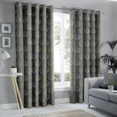 Delta Geometric Floral Fully Lined Eyelet Curtains - Grey