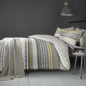 Retrace Stripe Geometric Reversible Duvet Cover Set - Ochre Yellow