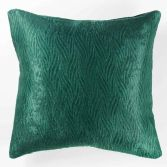 Shadow Embossed Velvet Cushion Cover - Emerald Green