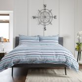 Hemsby Striped 100% Cotton Duvet Cover Set - Blue
