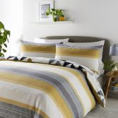 Hendra Reversible Duvet Cover Set - Ochre Yellow
