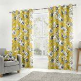 Charity Floral 100% Cotton Fully Lined Eyelet Curtains - Ochre Yellow