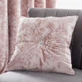 Catherine Lansfield Crushed Velvet Filled Cushion - Blush Pink
