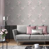 Catherine Lansfield Canterbury Floral Wallpaper - Grey