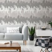 Catherine Lansfield Cityscape Wallpaper - Grey