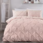 Lara Plain Ruffled Duvet Cover Set - Blush Pink