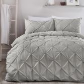 Lara Plain Ruffled Duvet Cover Set - Grey