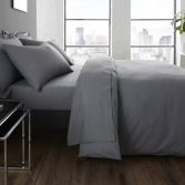 Serene Plain Dye Easy Care Duvet Cover Set - Charcoal