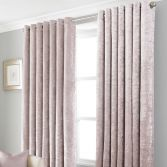 Crushed Velvet Self-Lined Blackout Ring Top Curtains - Blush Pink