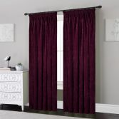 Plain Chenille Fully Lined Tape Top Curtains - Plum Purple