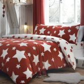 Kids Stars Brushed Cotton Duvet Cover Set - Red