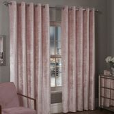 Paris Glitter Crushed Velvet Fully Lined Ring Top Curtains - Pink