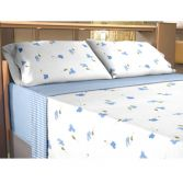 Flannelette 100% Cotton Sheet Set Lilly Blue