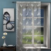 Butterfly Design White Lace Voile Curtain Panel