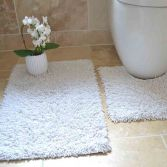 100% Cotton Twist Luxury Bath Mat Set - White