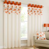Lily Floral Ring Top Eyelet Fully Lined Curtains - Orange