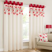 Lily Floral Ring Top Eyelet Fully Lined Curtains - Red