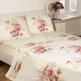 Kate Floral Cream 100% Cotton Thermal Flannelette Sheet Set