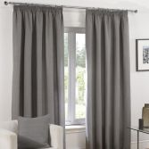 Plain Belmont Charcoal Grey Silver Tape Top Fully Lined Curtains
