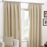 Plain Belmont Natural Cream Tape Top Fully Lined Curtains